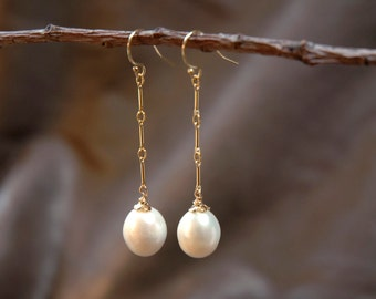 white pearl earrings - dangles on ear hooks  with gold chain - bridal or everyday jewelry, june birthstone