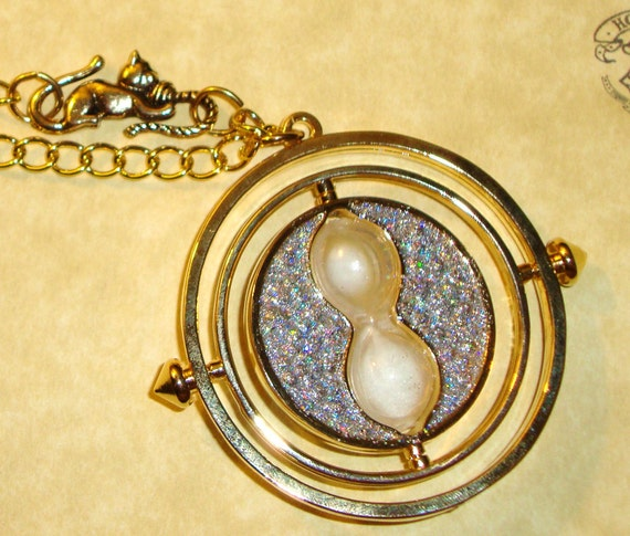 Harry Potter, a Time Turner Necklace with Crookshanks & Personalized Parchment Note YOU CHOOSE  from 5 sparkly COLORS