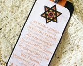 Handmade Bookmark Religious Spiritual Prayer Names of Jehovah Bookmark