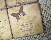 Coaster Stone Antiqued Travertine Coaster Richard Bach What the Caterpillar Calls....
