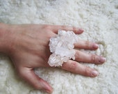 RESERVED FOR ALI. gorgeous quartz crystal three finger ring