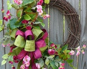 Sweetest Sweet Pea Spring Wreath - Pink Sweet Pea Wreath - Half Wreath with Bow