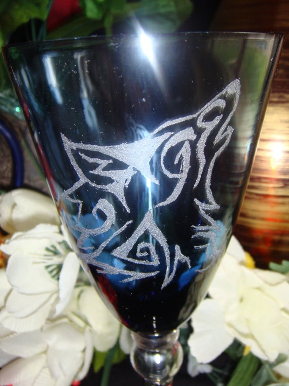 Tribal Wolf Hand Etched Chalice Blue Wine Glass