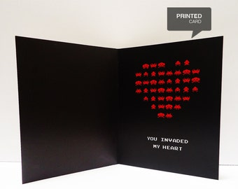 Space Invaders Love Printed Card