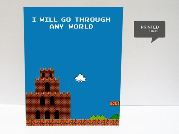 Super Mario 1 (ver. Blue) Love Printed Card