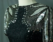 Vintage Black and Silver Beaded Sequined Cocktail Wiggle Dress (Beading-heavy sequins-bias cut-open back-key hole-back-slit)