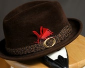 Vintage Brown Stetson Fedora with Feather (Dark Brown-light brown-felt-silk-satin-lining-stripes-emblem-crest-red feather-gold buckle-weaved belt)