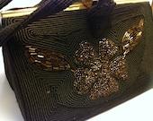 Vintage Corde Dark Brown Copper Beaded Handbag