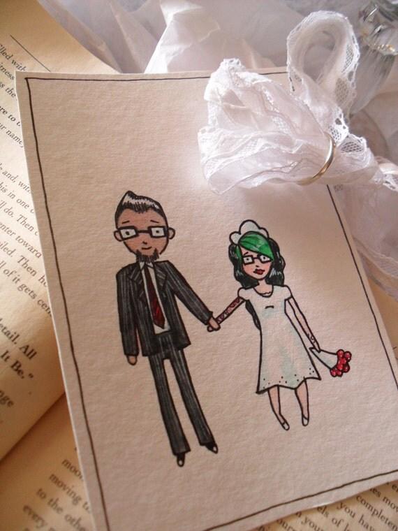 Wedding Invitation Custom Art - You and Me (4x6) Original Illustration
