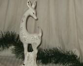 VIntage deer, Walls flecked gold deer, porcelain standing deer, made in Japan.  Cont. US shipping included