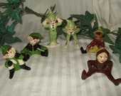 Vintage pixie, elf, fairies, ceramic figurines.  Cont US Shipping included.