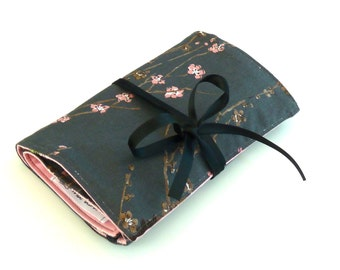 Travel Jewelry roll Pink Cherry Blossoms - Made to order