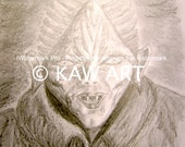 PDF of Hand Drawn Pencil Drawing 'Vamp' by KAW Vampire Fantasy Monster Creature Vampyre Gothic