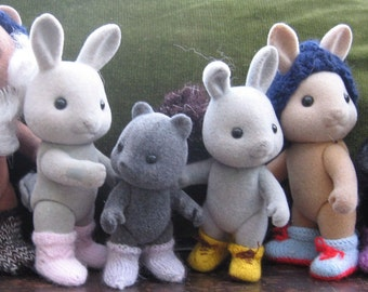 "PDF Knitting pattern for Sylvanian Families and Calico Critters: ""BOOTS & SOCKS"""