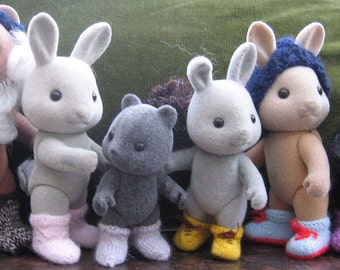 "PDF Knitting pattern ""Boots and Socks"" for Sylvanian & Calico Critter Families, cute kawaii"