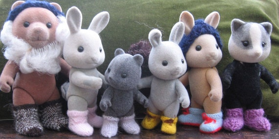 """PDF Knitting pattern for Sylvanian Families and Calico Critters: """"BOOTS & SOCKS"""""""