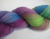 Hand Dyed yarn, Blue Faced Leicester wool, Lace weight yarn, purple blue and green, Jewel