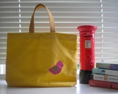 Miss Sunshine (with pink felt bird tag) - Unique,HANDMADE, tote bag