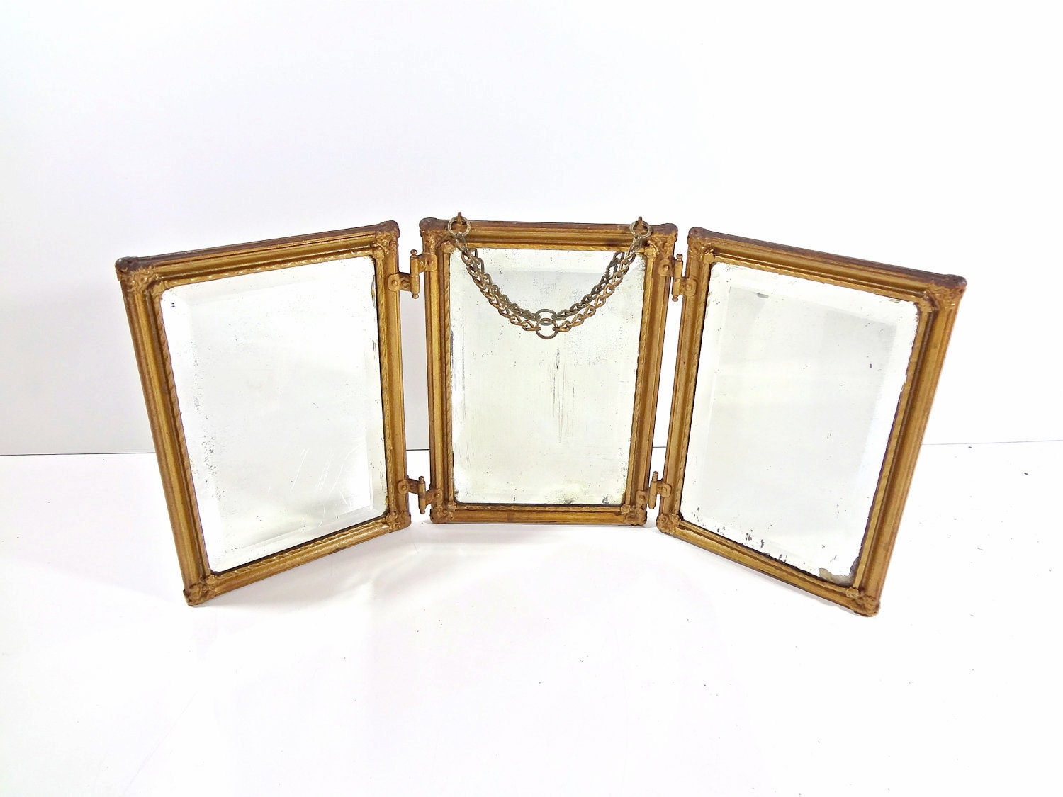 Antique victorian gold tri fold mirror with by graygardendecor for Tri fold mirror