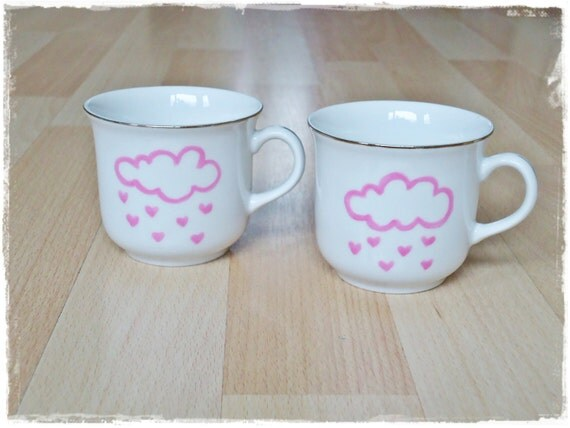 Love is in the air - Vintage handpainted cups