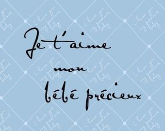 Je t'aime mon bebe precieux, 8x10 (Pin Cushion Parisian sky) Baby Series, BUY 3 GET 1 FREE