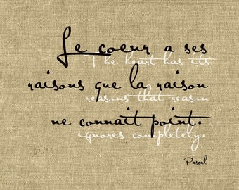 The heart has it's reasons that reason ignores completely, 5x7 poster (Burlap) BUY 3 GET 1 FREE
