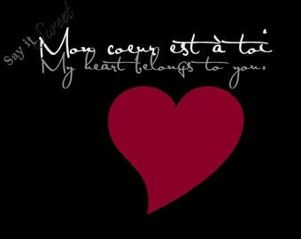 French: My Heart Belongs to You, 11x14 print (Eiffel Tower Black) BUY 3 GET 1 FREE
