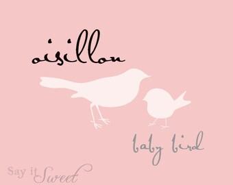 Baby Bird (French Oisillon) Print, 5x7 Print (Blush Pink Shown) Baby Series BUY 3 GET 1 FREE