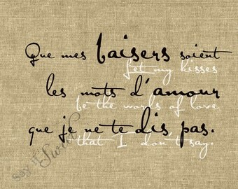 French: Let My Kisses Be The Words of Love I don't Say, 11x14 print (Burlap Shown) as FEATURED on the Front Page of Etsy
