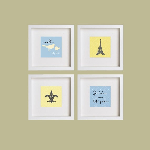 French Baby Bleu Collection: Set of (4) 5x5 prints, Buy 3 Get 1 Free