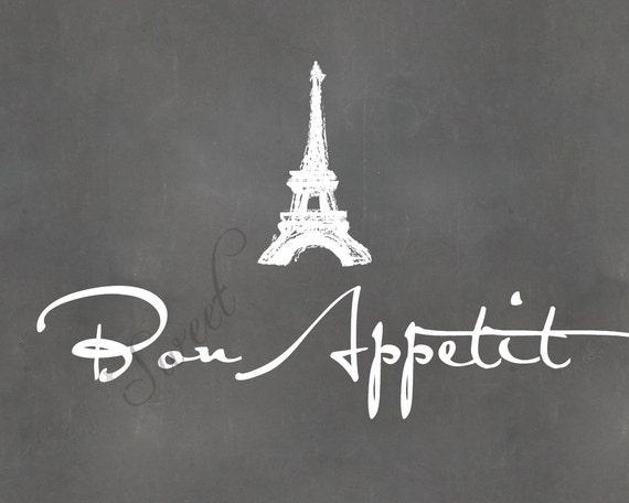 Bon Appetit, 8x10 print with Eiffel Tower Sketch (chalkboard shown)