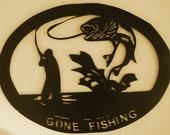 Gone Fishing, Fisherman, Cabin, Lodge, Lake, Metal Wall Art