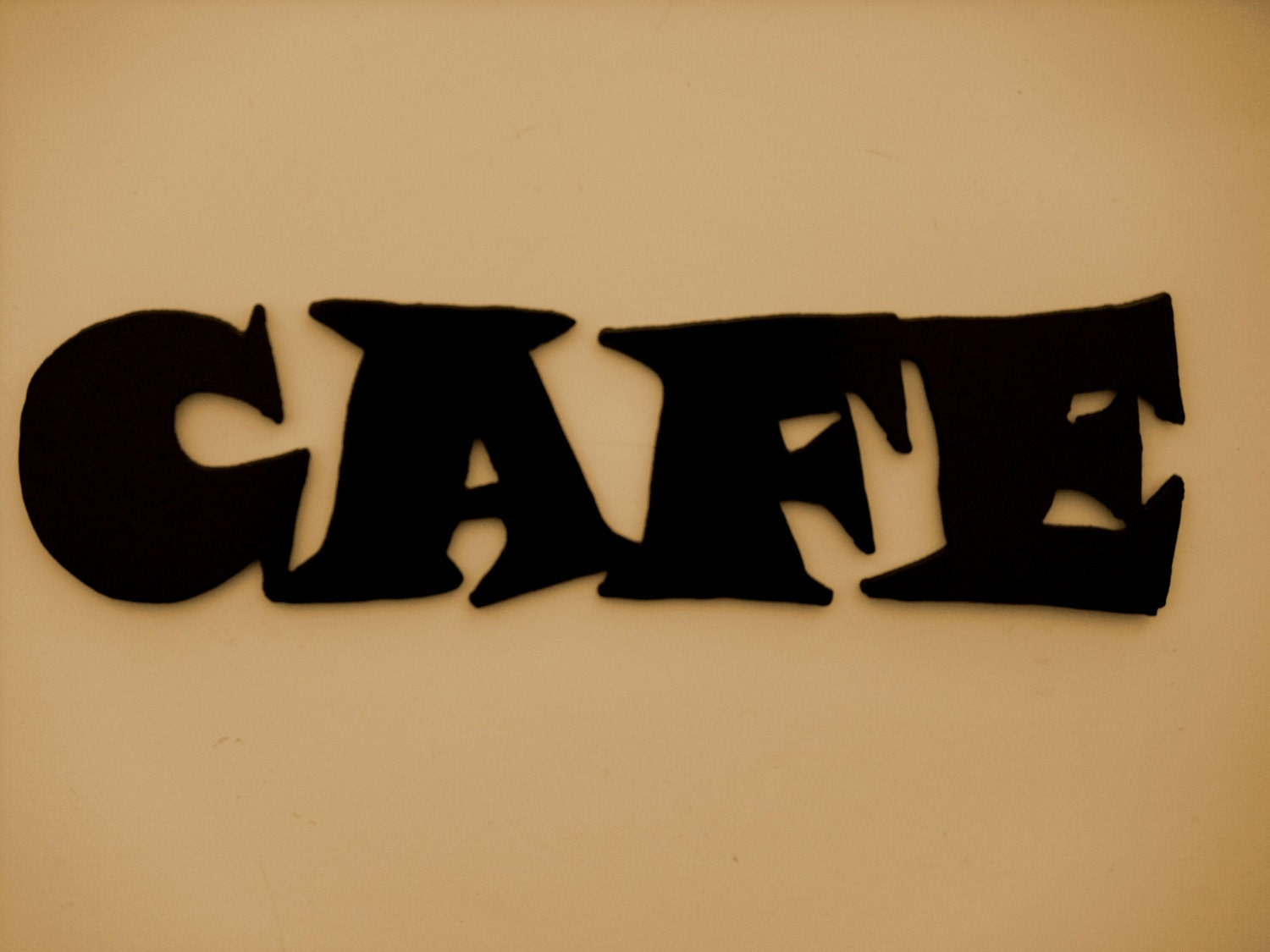 Metal wall art decor cafe word kitchen free shipping for Decoration word