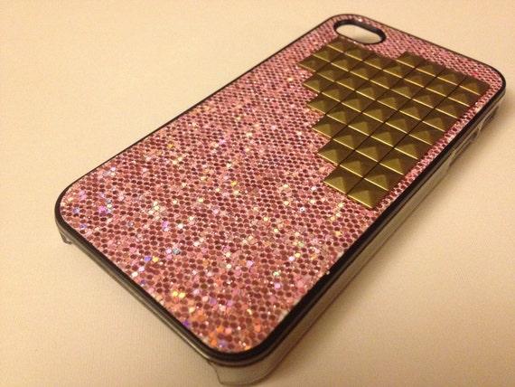 Gold Pyramid Studded Light Pink Glitter iPhone 4/4S Case for ATT & Verizon