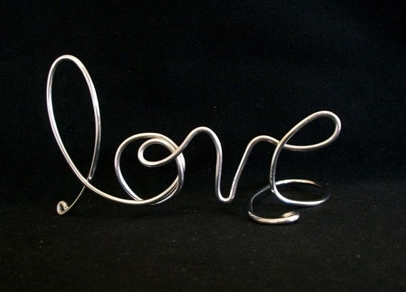 LOVE.....Handcrafted Wedding Cake Topper or Wedding Centerpiece or Decoration in Silver Colored wire....FREE Shipping in the USA