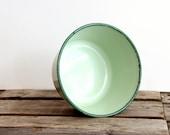 Enamelware Flower Pot Medium size mint and dark green rim