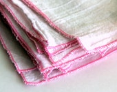 4 Cloth Unpaper Towel flour sack and pink edging