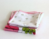 Small Lunch Box Napkins pink floral set of 4 10 inch square