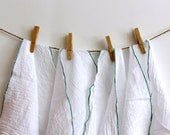 4 UnPaper Towel flour sack and green edging  Eco Friendly choice
