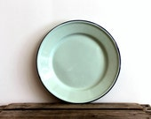 Mint green enamelware dinner plate with blue rim