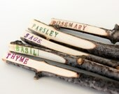 Handmade Twig Plant Markers - Rustic Garden Markers - Herb Markers - set of 5