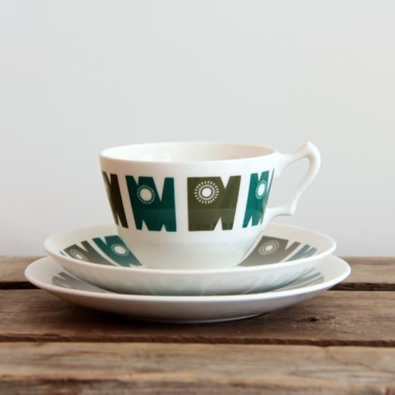 Green Art Deco Vintage Tea Set Delamere Fine Bone China England (3 pcs)