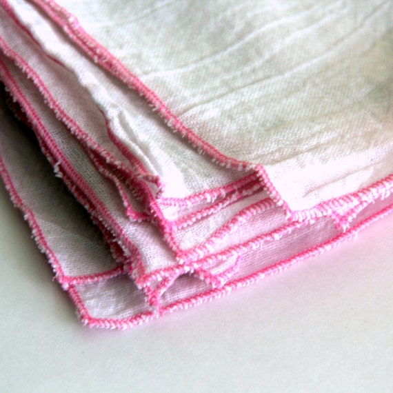 4 Cloth Unpaper Towel flour sack and pink edging