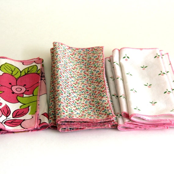Small Cloth Wipes, pink floral set of 8
