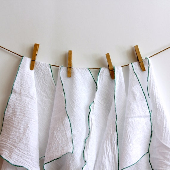 4 UnPaper Towel flour sack and green edging  Eco Friendly choice