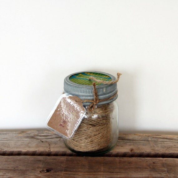 Garden String Dispenser - a Pint of String - 190 ft Jute Twine - Vintage Dominion Gem Jar and Ring