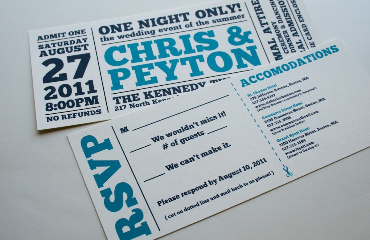 Wedding Tickets Invitations: Wedding Invitation One Night Only Ticket