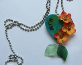 Wooden Heart Necklace with Flowers in Bloom for MOM with A Vintage Look