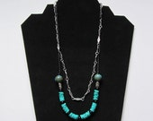Turquoise double strand necklace - Beach Style - Southwestern Style - Cord/Metal - Adjustable