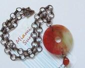 Semi-precious Stone Pendant, Carnelian bead and Decorative Antique Copper Chain - Copper Chain - Large Pendant - Statement Necklace